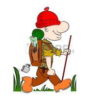 14676840 un randonneur randonneur de bande dessinee faire du camping avec sac a dos et le baton